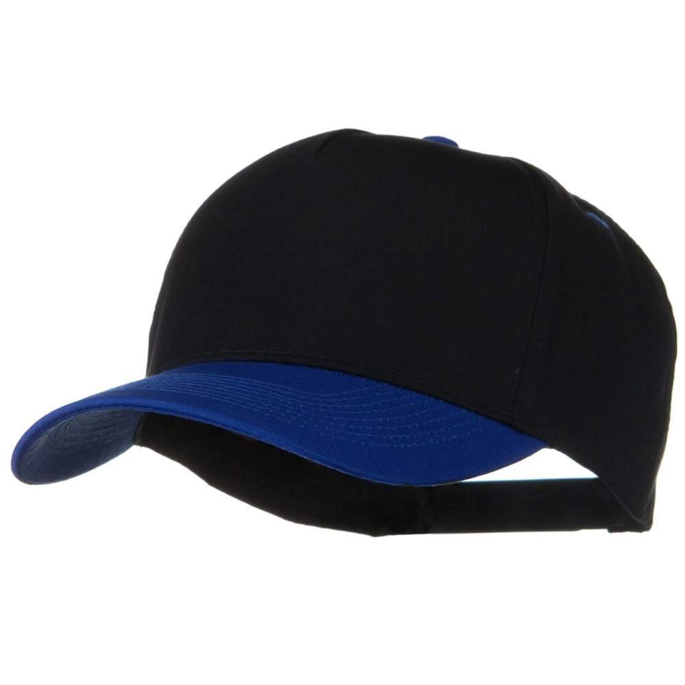 Cotton Twill Two Tone 5 Panel Prostyle Snap Cap - Royal Black - Hats and Caps Online Shop - Hip Head Gear