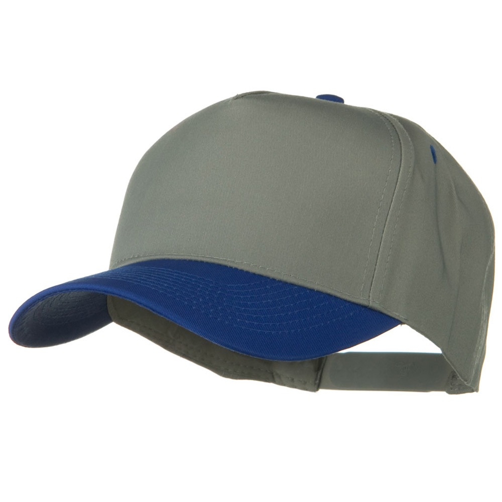 Cotton Twill Two Tone 5 Panel Prostyle Snap Cap - Royal Grey - Hats and Caps Online Shop - Hip Head Gear
