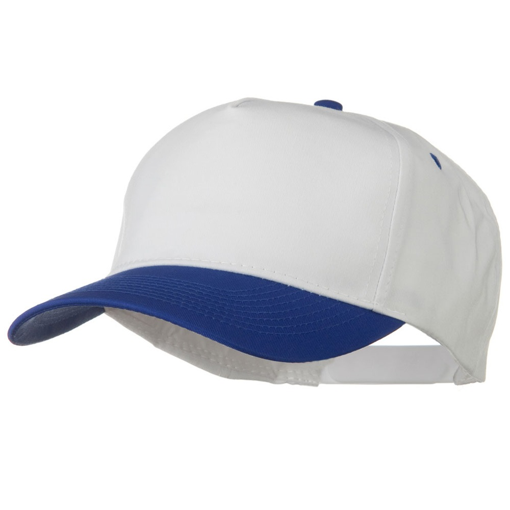 Cotton Twill Two Tone 5 Panel Prostyle Snap Cap - Royal White - Hats and Caps Online Shop - Hip Head Gear