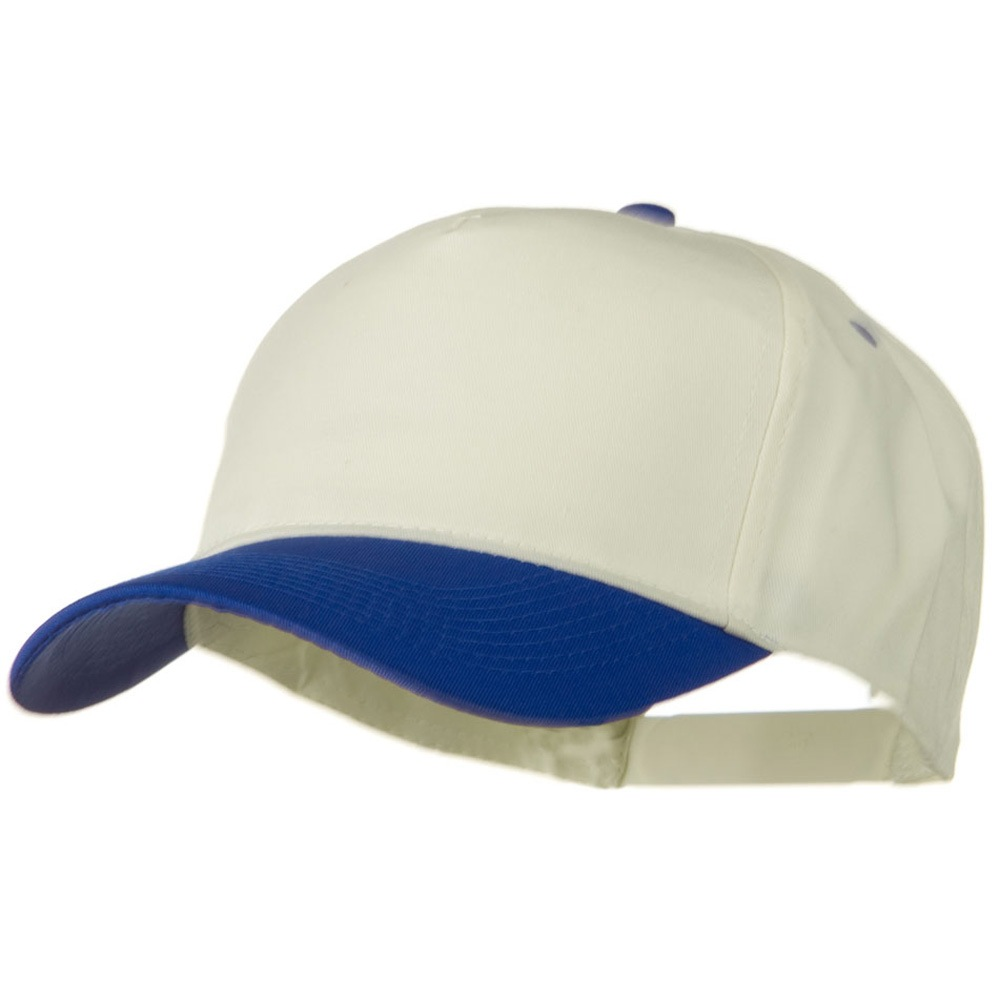 Cotton Twill Two Tone 5 Panel Prostyle Snap Cap - Royal Natural - Hats and Caps Online Shop - Hip Head Gear