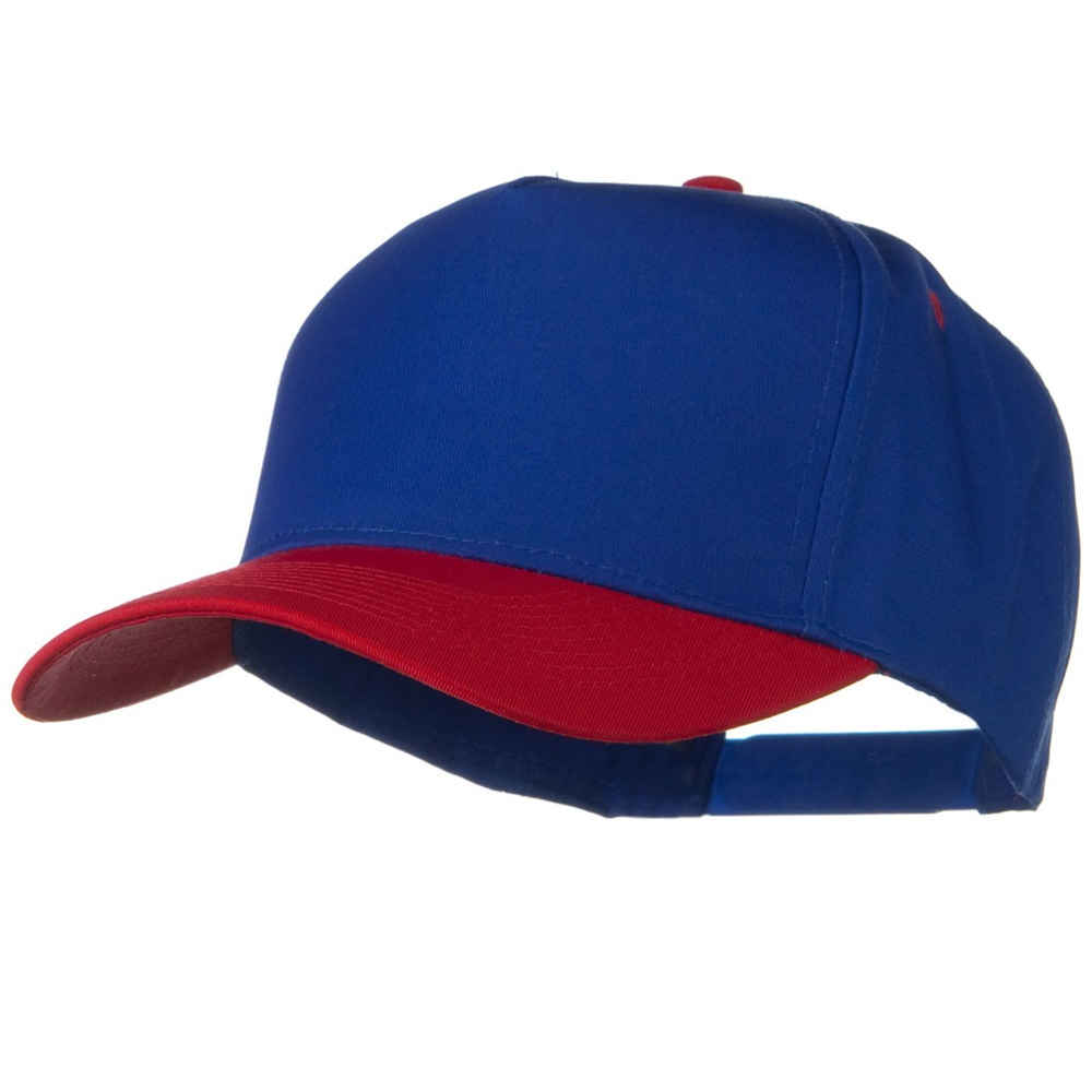 Cotton Twill Two Tone 5 Panel Prostyle Snap Cap - Red Royal - Hats and Caps Online Shop - Hip Head Gear