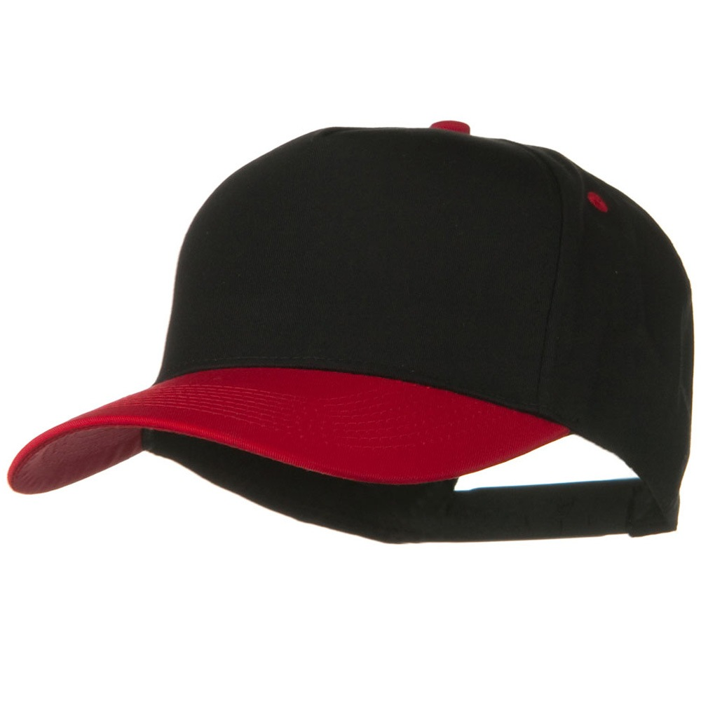 Cotton Twill Two Tone 5 Panel Prostyle Snap Cap - Red Black - Hats and Caps Online Shop - Hip Head Gear