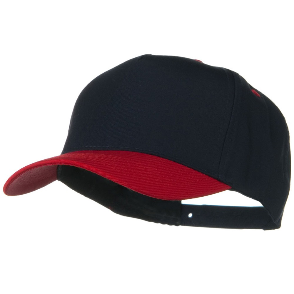 Cotton Twill Two Tone 5 Panel Prostyle Snap Cap - Red Navy - Hats and Caps Online Shop - Hip Head Gear