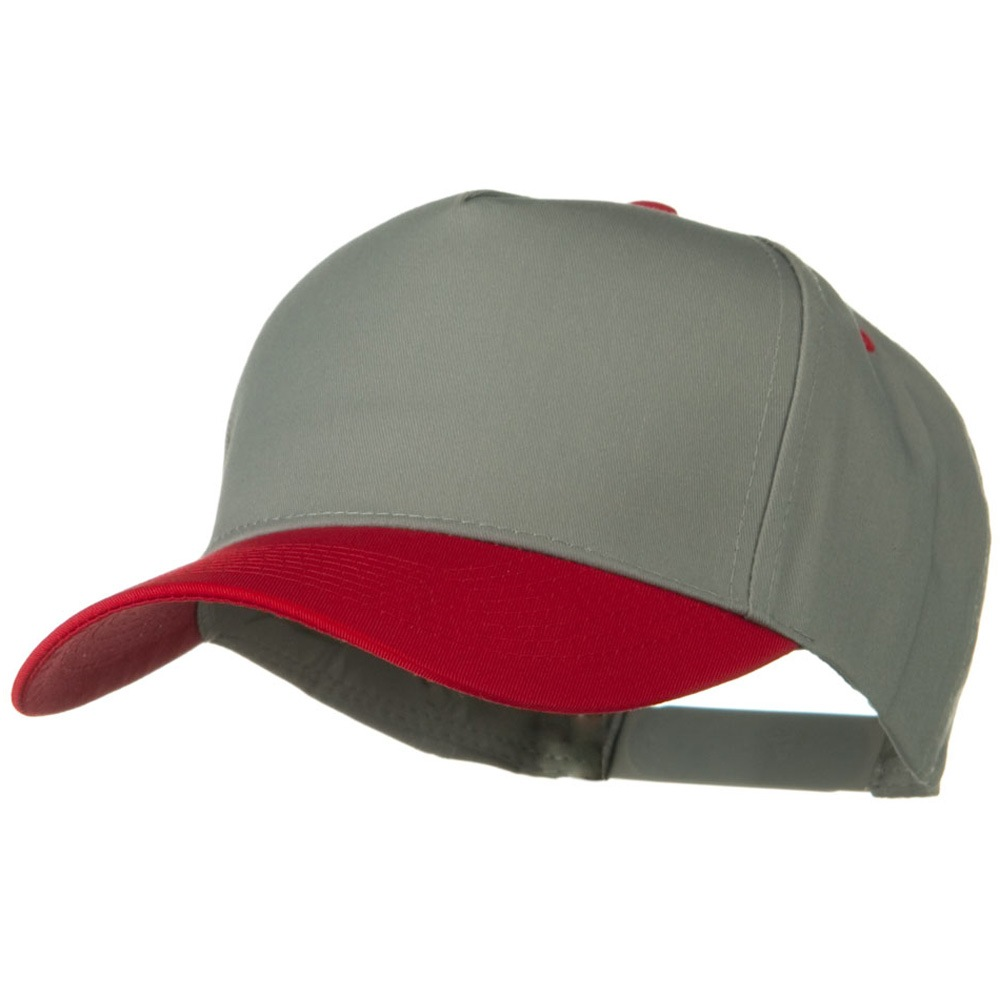 Cotton Twill Two Tone 5 Panel Prostyle Snap Cap - Red Grey - Hats and Caps Online Shop - Hip Head Gear