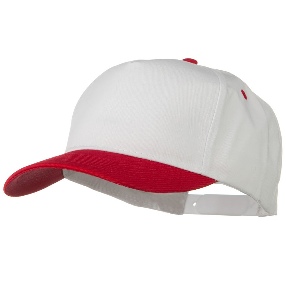 Cotton Twill Two Tone 5 Panel Prostyle Snap Cap - Red White - Hats and Caps Online Shop - Hip Head Gear