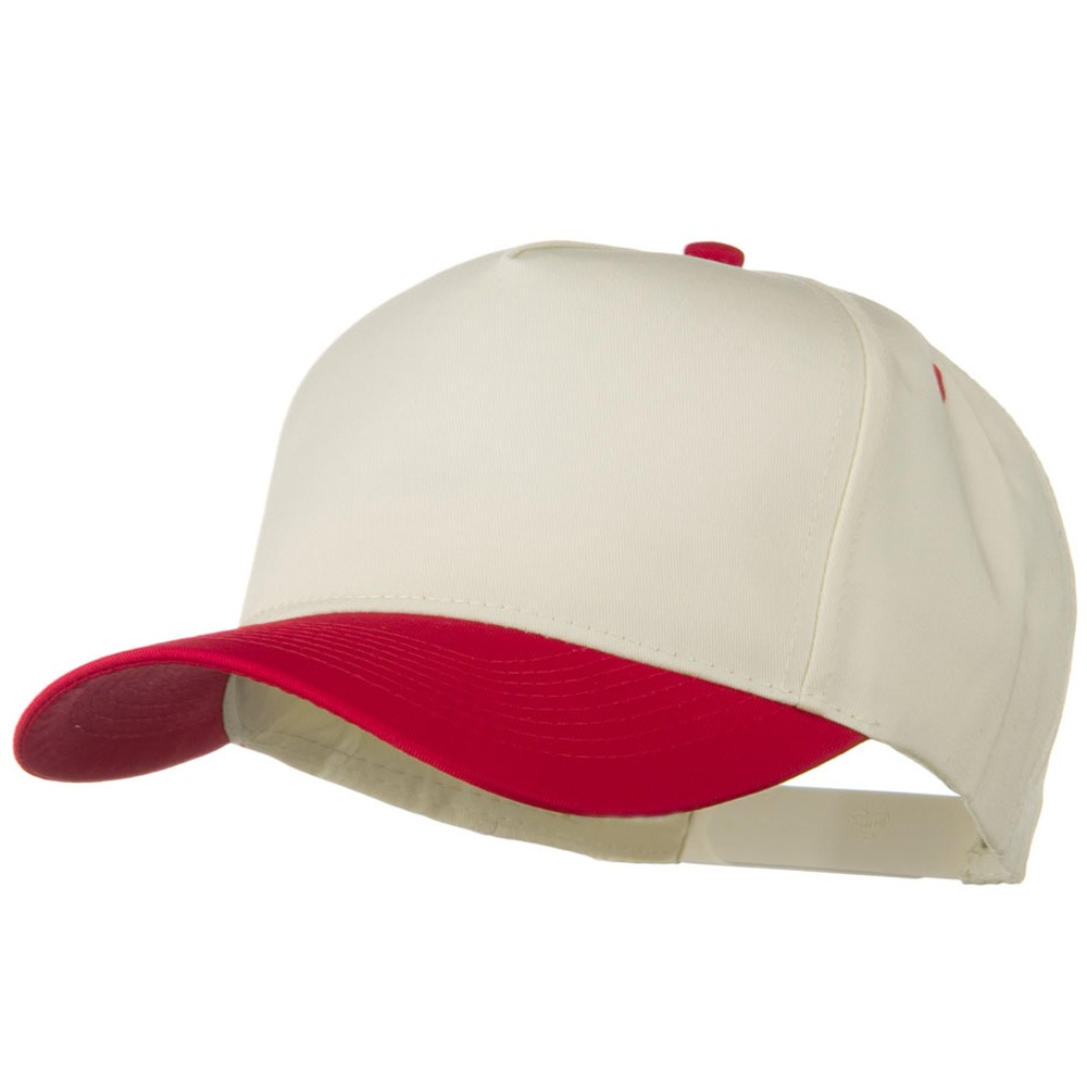 Cotton Twill Two Tone 5 Panel Prostyle Snap Cap - Red Natural - Hats and Caps Online Shop - Hip Head Gear