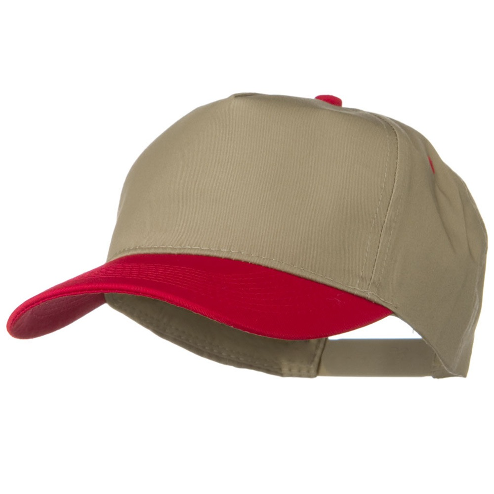 Cotton Twill Two Tone 5 Panel Prostyle Snap Cap - Red Khaki - Hats and Caps Online Shop - Hip Head Gear