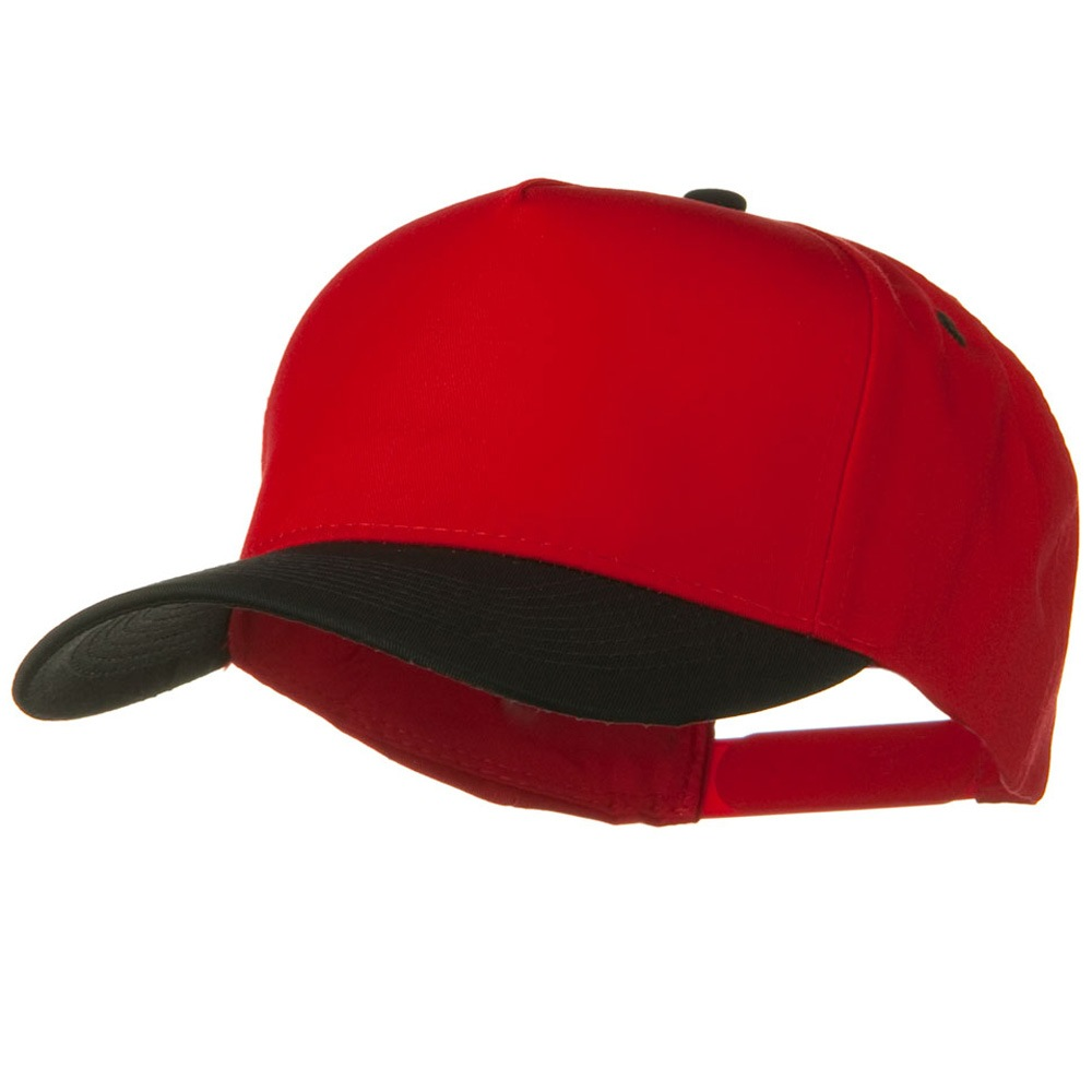 Cotton Twill Two Tone 5 Panel Prostyle Snap Cap - Black Red - Hats and Caps Online Shop - Hip Head Gear