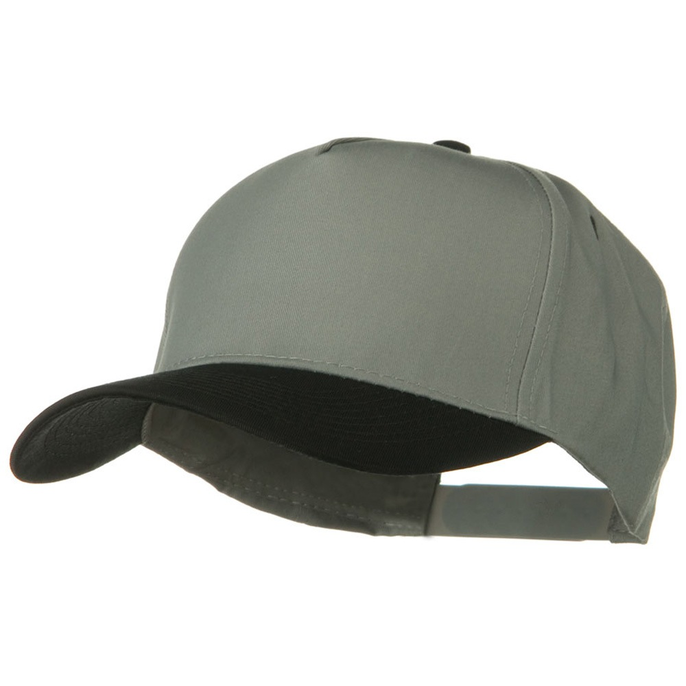 Cotton Twill Two Tone 5 Panel Prostyle Snap Cap - Black Grey - Hats and Caps Online Shop - Hip Head Gear