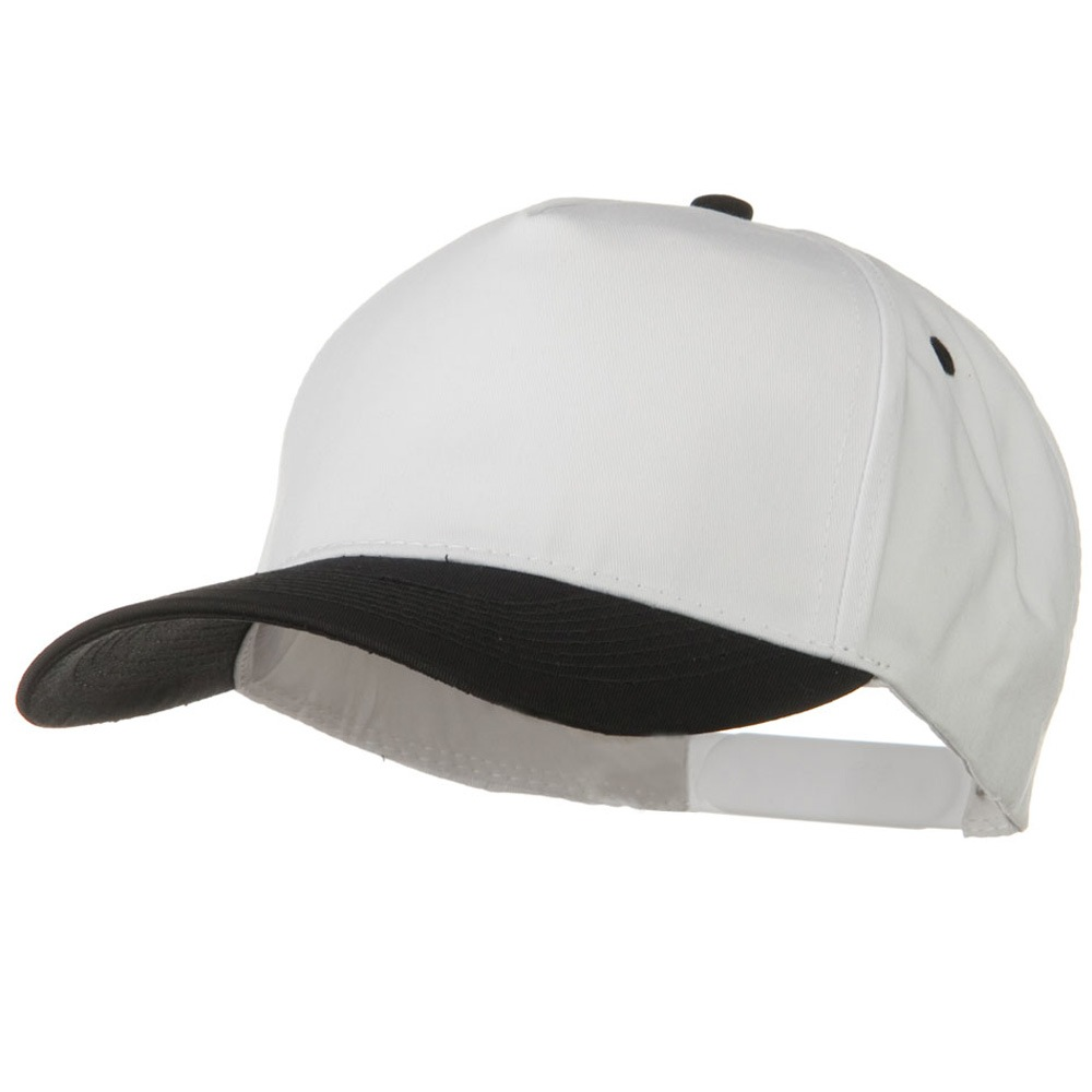 Cotton Twill Two Tone 5 Panel Prostyle Snap Cap - Black White - Hats and Caps Online Shop - Hip Head Gear