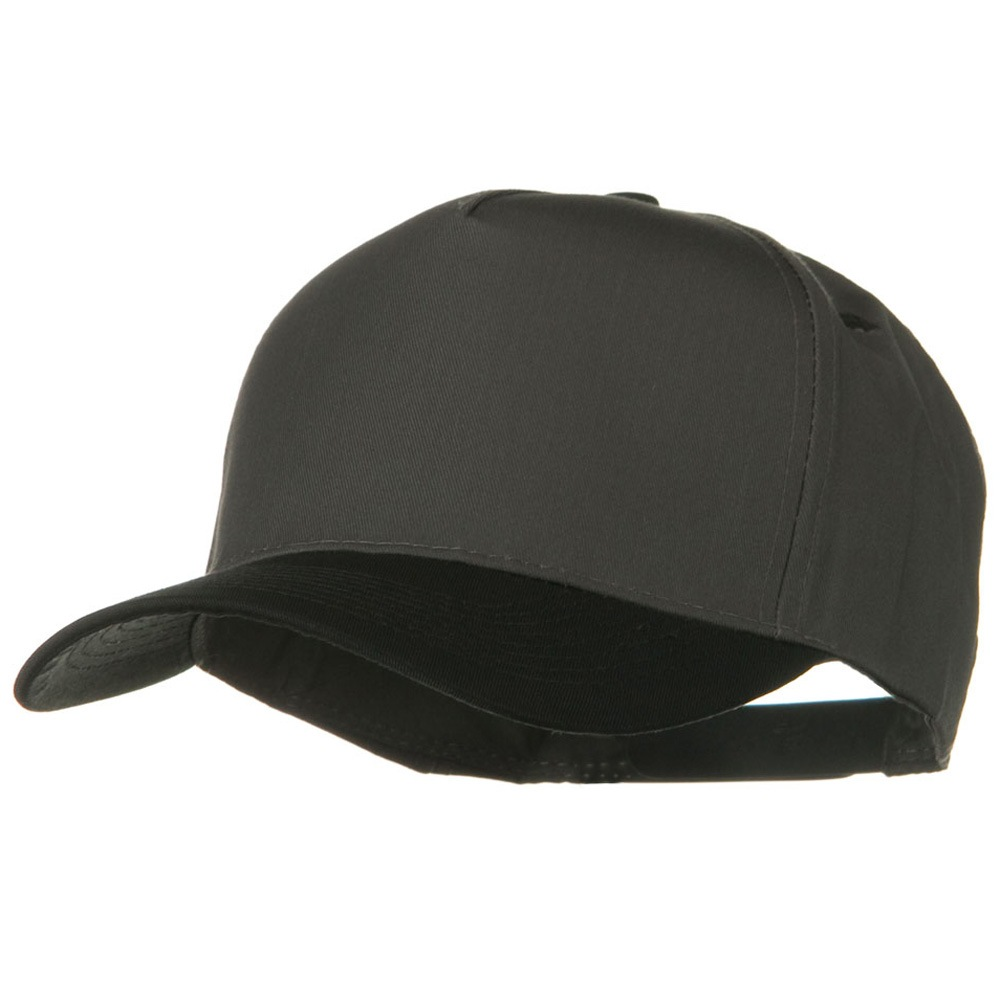 Cotton Twill Two Tone 5 Panel Prostyle Snap Cap - Black Charcoal Grey - Hats and Caps Online Shop - Hip Head Gear