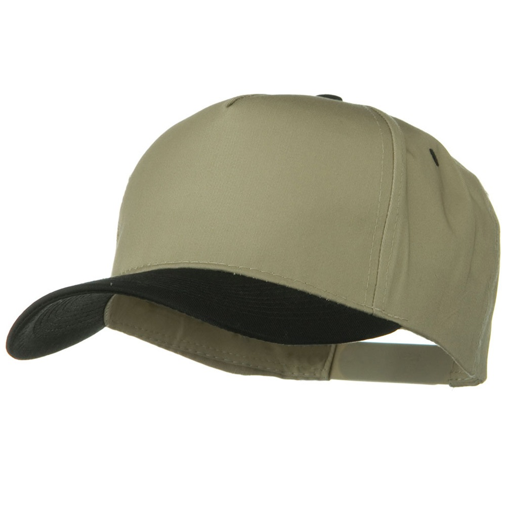 Cotton Twill Two Tone 5 Panel Prostyle Snap Cap - Black Khaki - Hats and Caps Online Shop - Hip Head Gear
