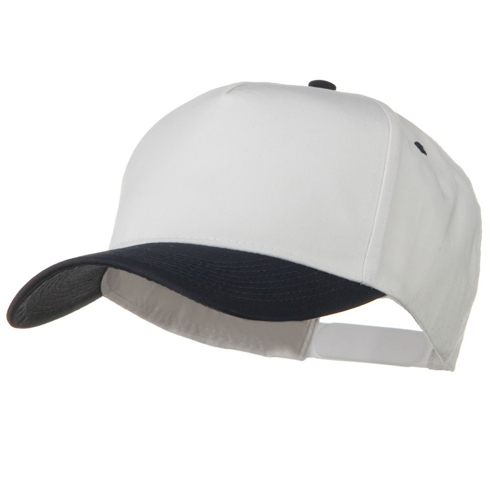 Cotton Twill Two Tone 5 Panel Prostyle Snap Cap - Navy White - Hats and Caps Online Shop - Hip Head Gear