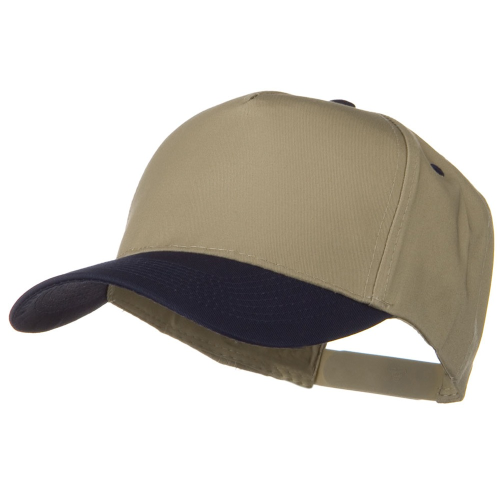 Cotton Twill Two Tone 5 Panel Prostyle Snap Cap - Navy Khaki - Hats and Caps Online Shop - Hip Head Gear