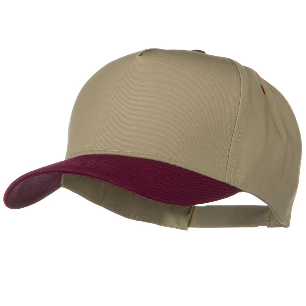 Cotton Twill Two Tone 5 Panel Prostyle Snap Cap - Maroon Khaki - Hats and Caps Online Shop - Hip Head Gear