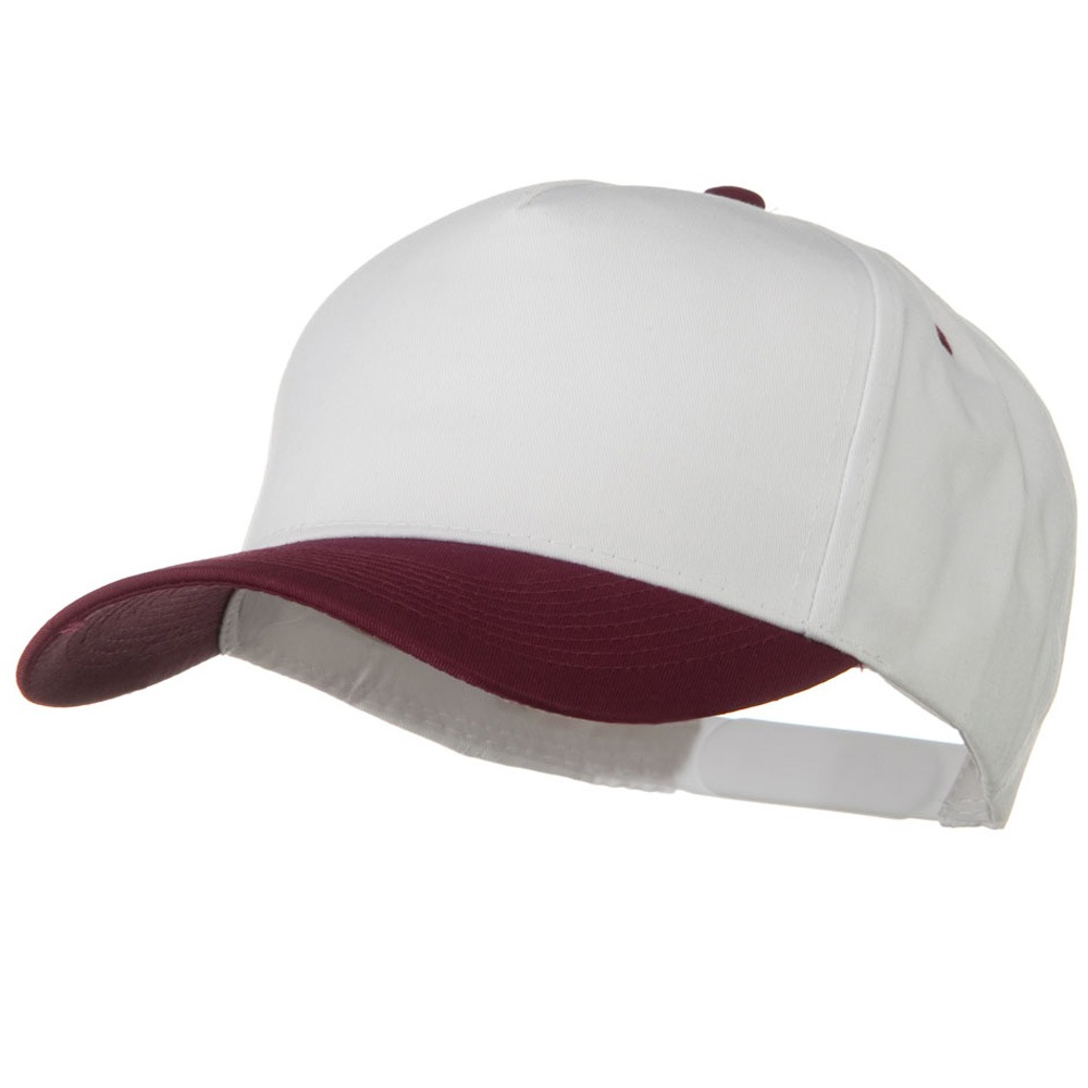 Cotton Twill Two Tone 5 Panel Prostyle Snap Cap - Maroon White - Hats and Caps Online Shop - Hip Head Gear