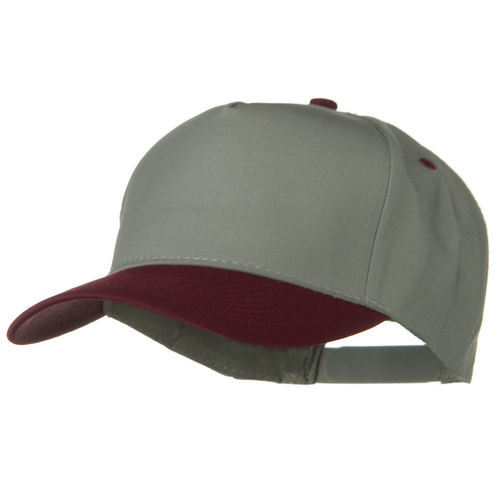 Cotton Twill Two Tone 5 Panel Prostyle Snap Cap - Maroon Grey - Hats and Caps Online Shop - Hip Head Gear