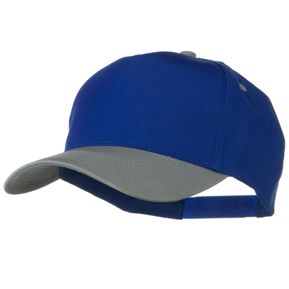 Cotton Twill Two Tone 5 Panel Prostyle Snap Cap - Grey Royal - Hats and Caps Online Shop - Hip Head Gear