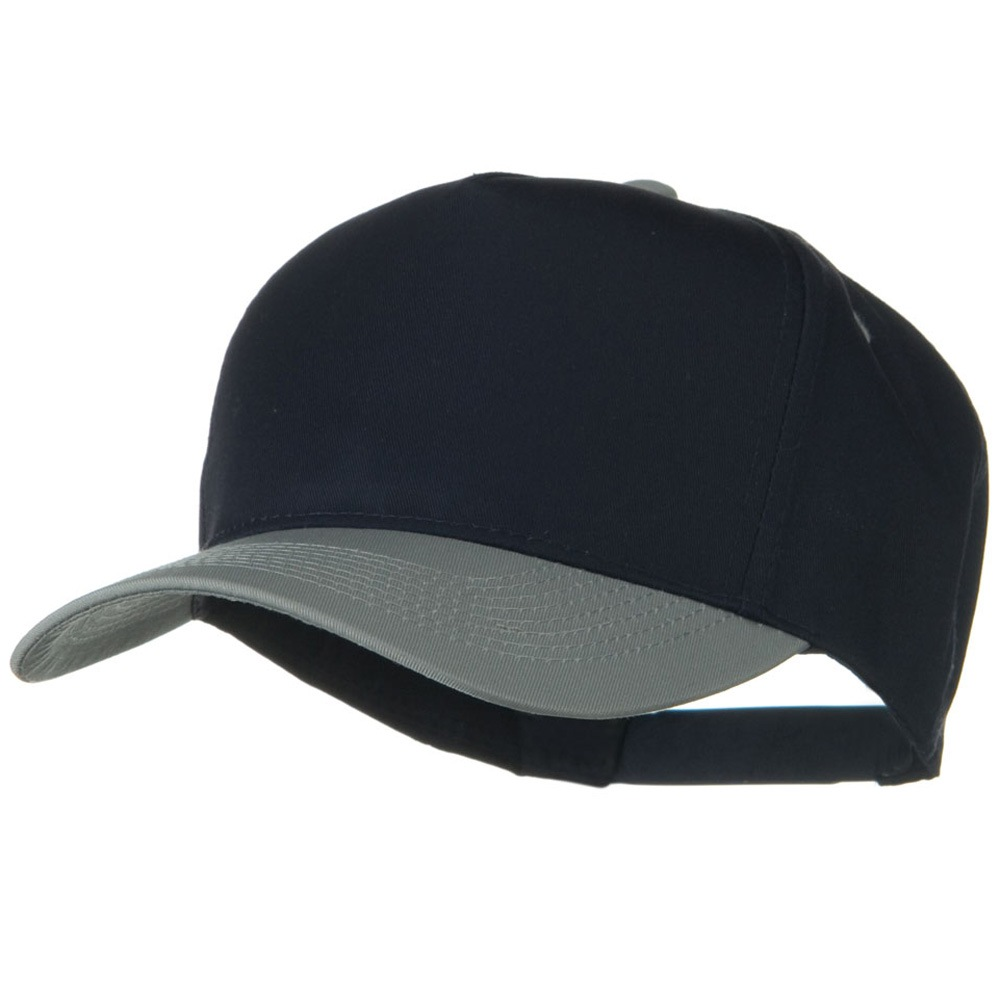 Cotton Twill Two Tone 5 Panel Prostyle Snap Cap - Grey Navy - Hats and Caps Online Shop - Hip Head Gear