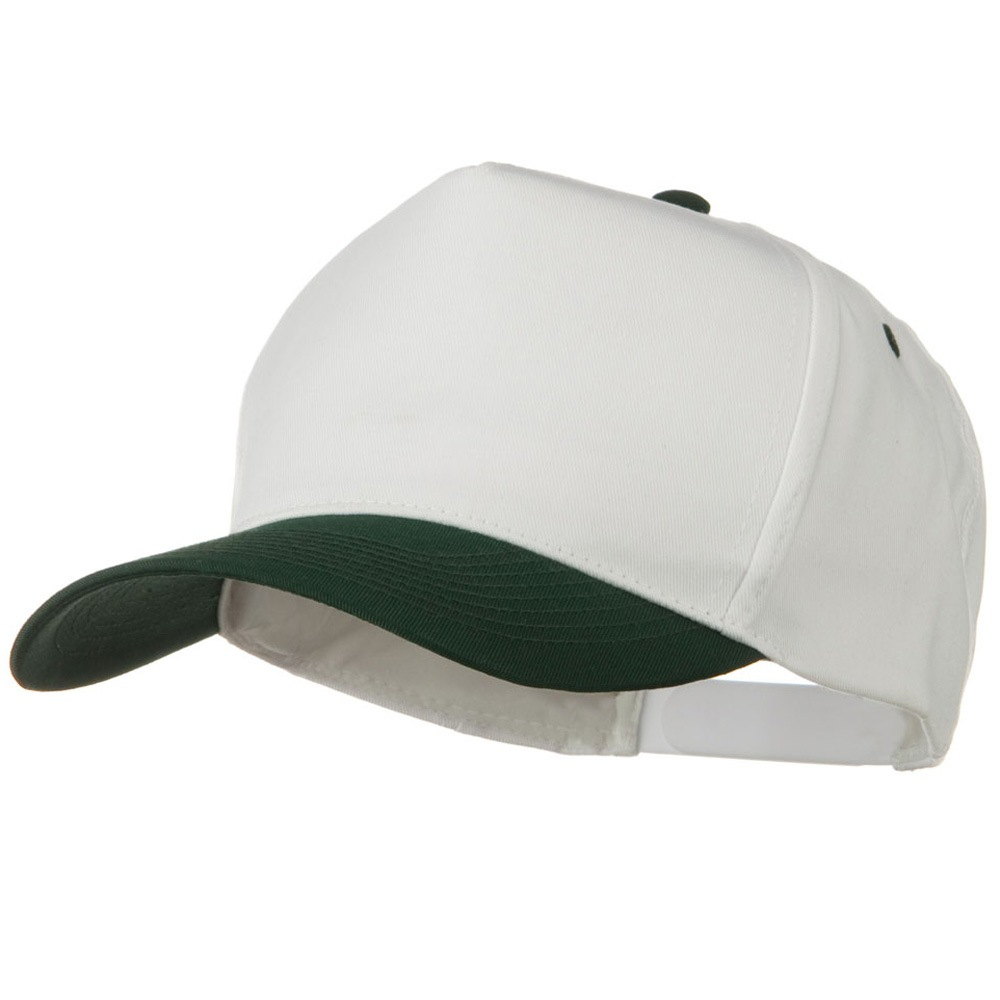 Cotton Twill Two Tone 5 Panel Prostyle Snap Cap - Dark Green White - Hats and Caps Online Shop - Hip Head Gear