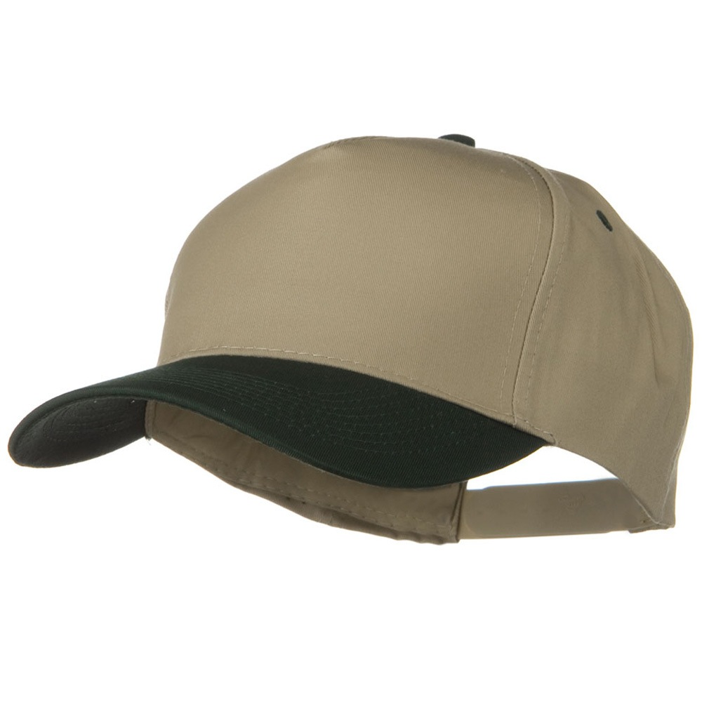 Cotton Twill Two Tone 5 Panel Prostyle Snap Cap - Dark Green Khaki - Hats and Caps Online Shop - Hip Head Gear