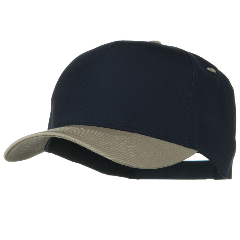 Cotton Twill Two Tone 5 Panel Prostyle Snap Cap - Khaki Navy - Hats and Caps Online Shop - Hip Head Gear