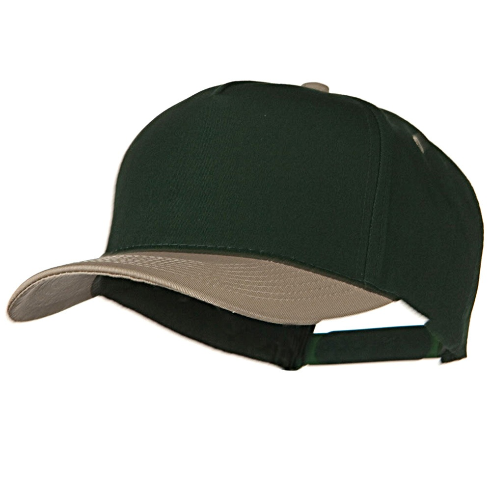 Cotton Twill Two Tone 5 Panel Prostyle Snap Cap - Khaki Dark Green - Hats and Caps Online Shop - Hip Head Gear