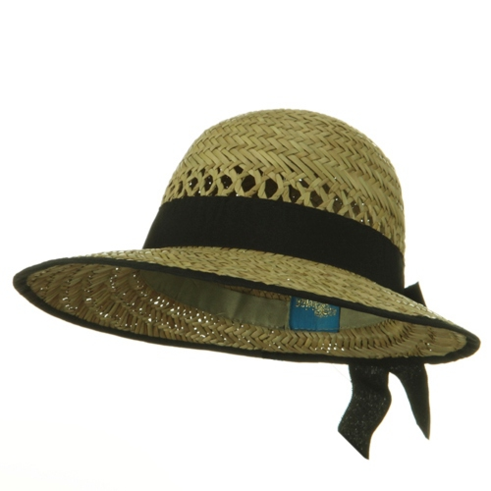 Straw Sun Block Ladies Hats - Natural Black Band - Hats and Caps Online Shop - Hip Head Gear