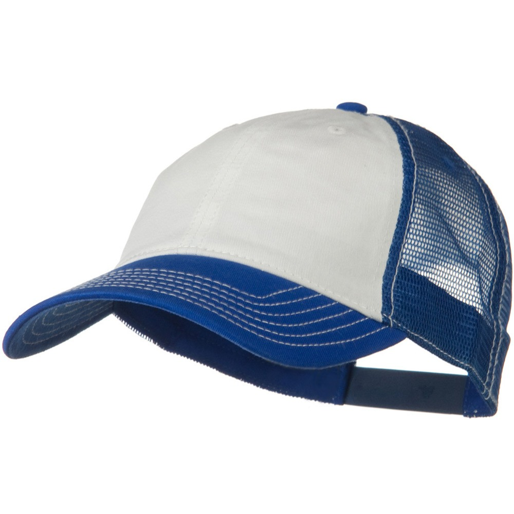 2 Tone Superior Garment Washed Cotton Mesh Back Cap - White Royal - Hats and Caps Online Shop - Hip Head Gear