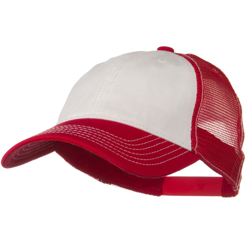 2 Tone Superior Garment Washed Cotton Mesh Back Cap - White Red - Hats and Caps Online Shop - Hip Head Gear