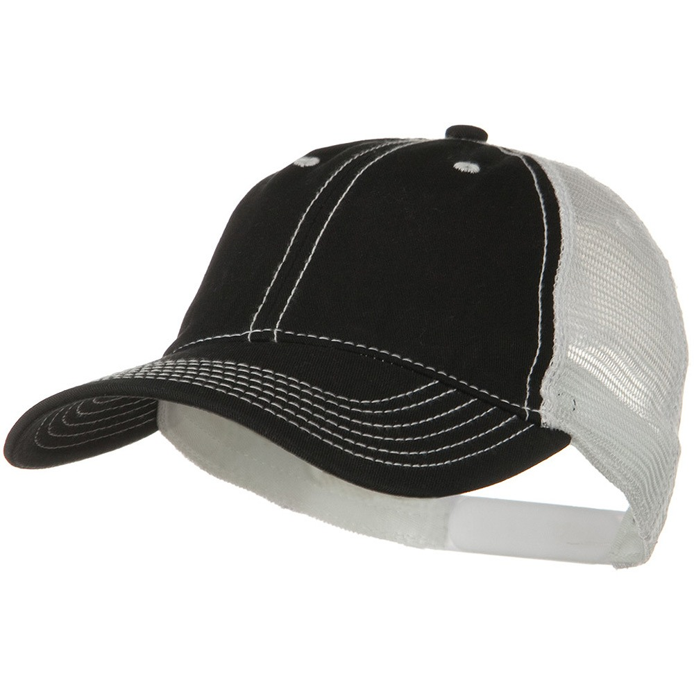 2 Tone Superior Garment Washed Cotton Mesh Back Cap - Black White - Hats and Caps Online Shop - Hip Head Gear