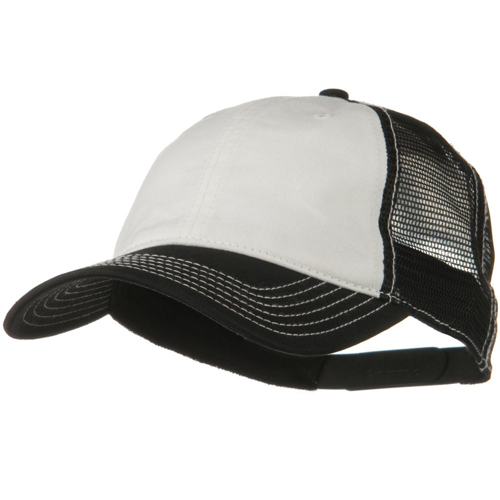 2 Tone Superior Garment Washed Cotton Mesh Back Cap - White Black - Hats and Caps Online Shop - Hip Head Gear