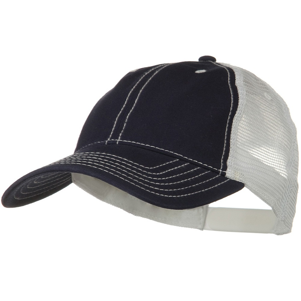 2 Tone Superior Garment Washed Cotton Mesh Back Cap - Navy White - Hats and Caps Online Shop - Hip Head Gear