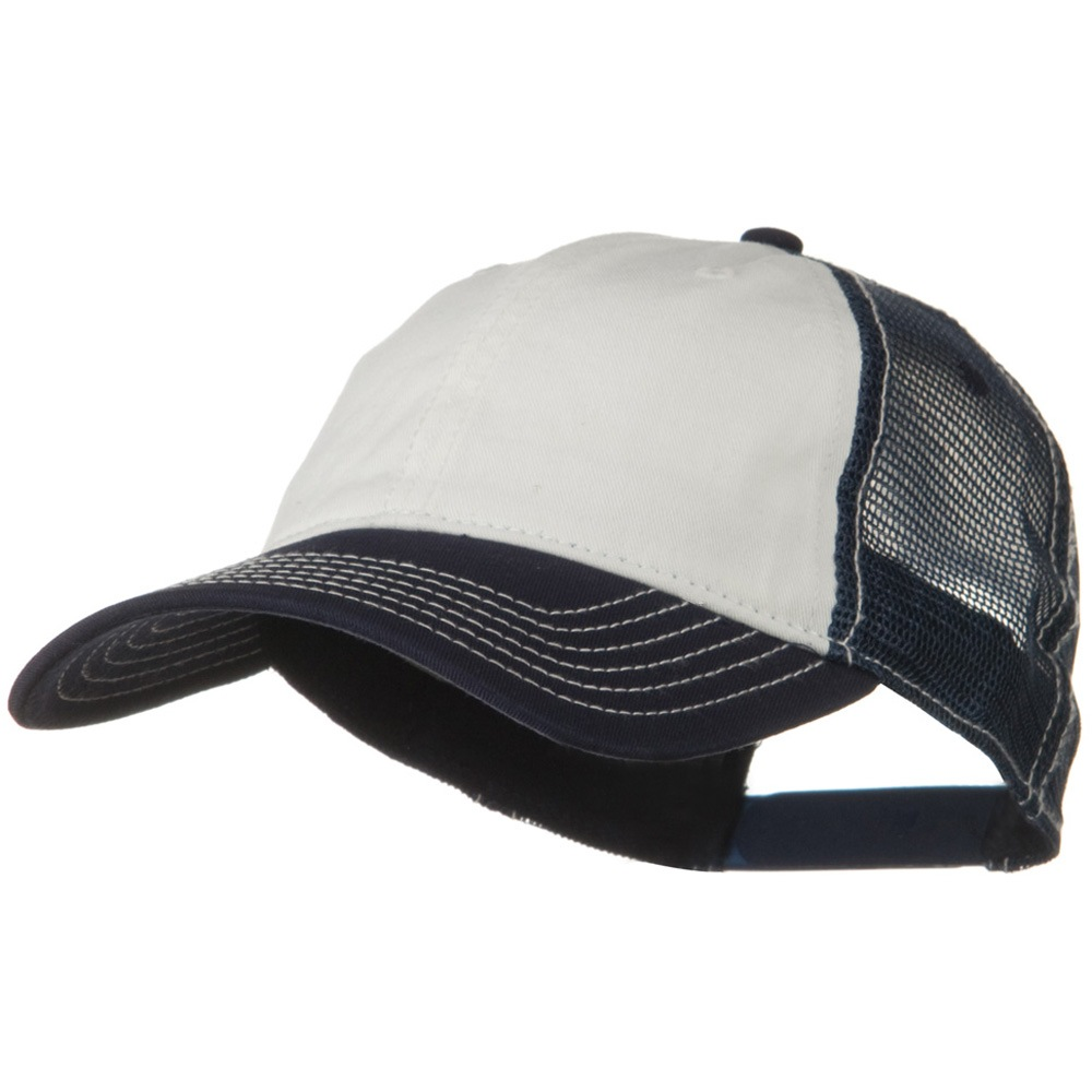 2 Tone Superior Garment Washed Cotton Mesh Back Cap - White Navy - Hats and  Caps c155af566639