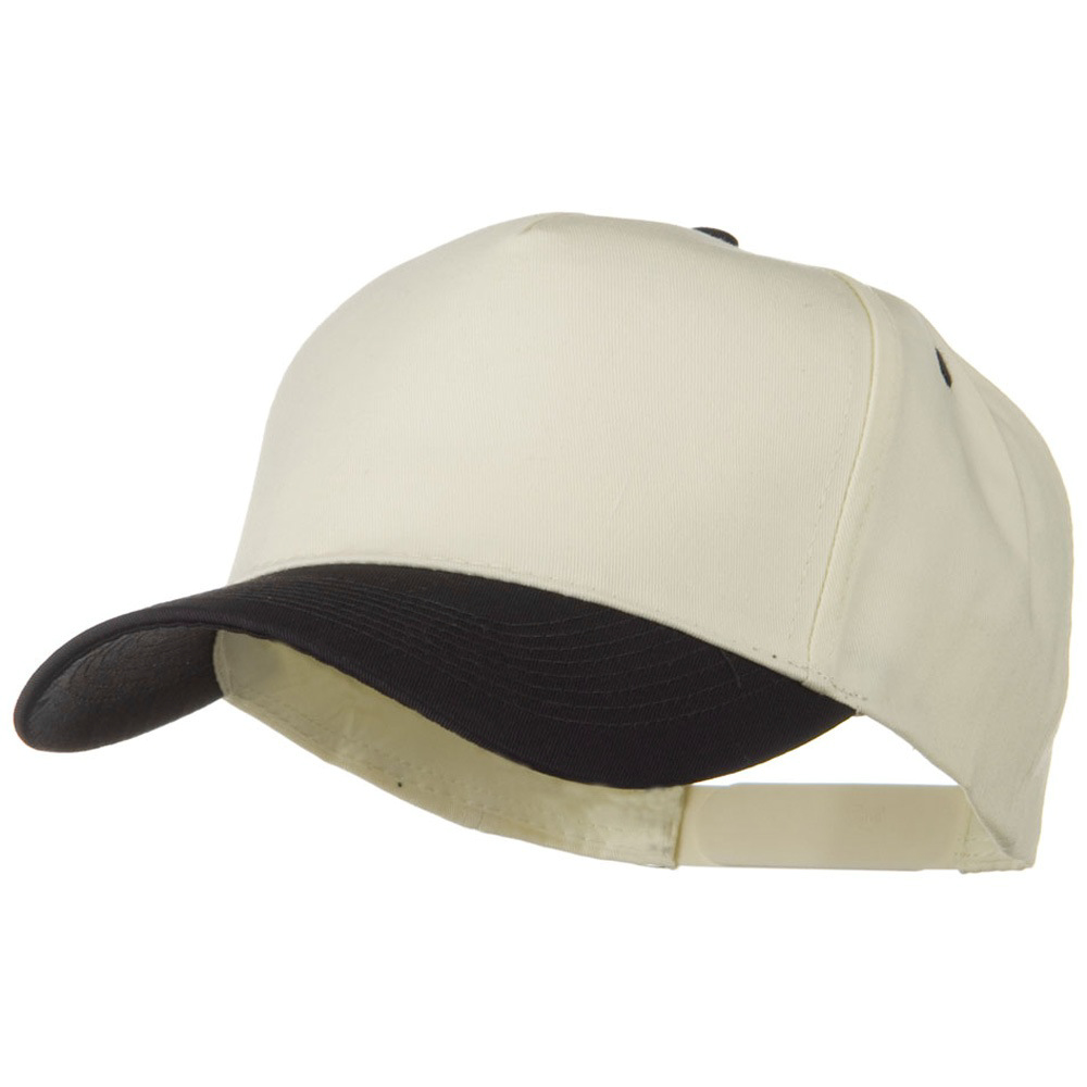 Cotton Twill Two Tone 5 Panel Prostyle Snap Cap - Black Natural - Hats and Caps Online Shop - Hip Head Gear