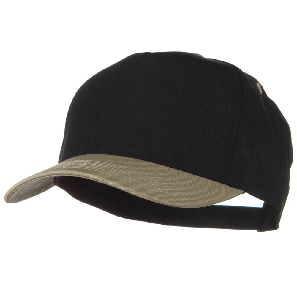 Cotton Twill Two Tone 5 Panel Prostyle Snap Cap - Khaki Black - Hats and Caps Online Shop - Hip Head Gear