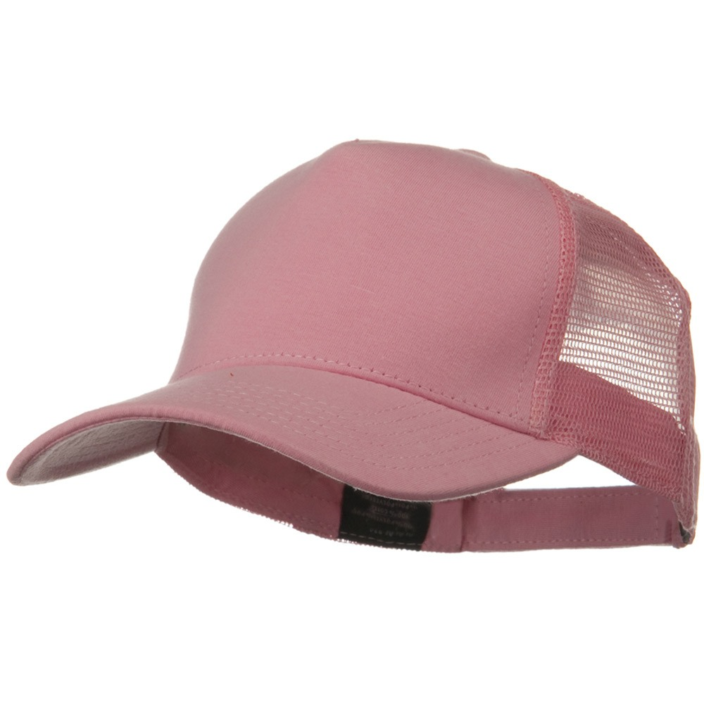 Solid Comfy Cotton Jersey 5 Panel Mesh Back Cap - Pink