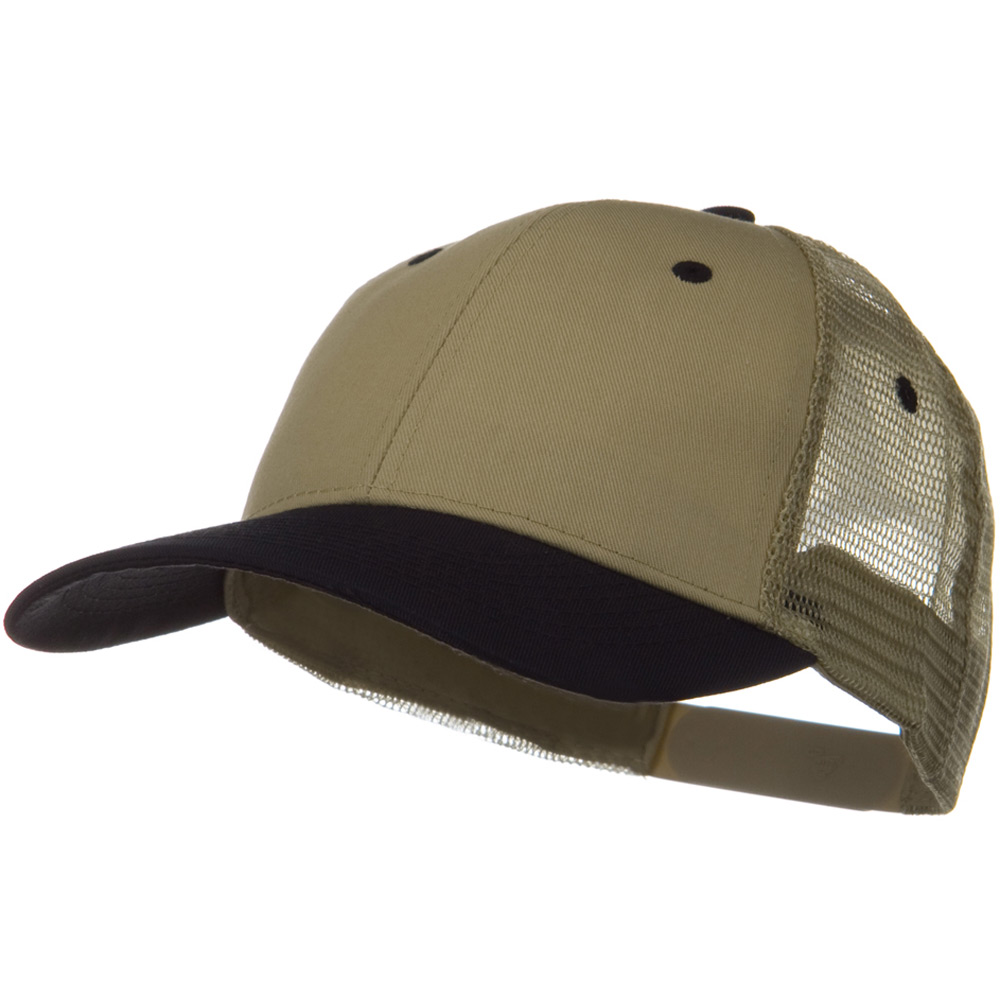 2 Tone Cotton Twill Low Profile Nylon Mesh Back Cap - Black Khaki - Hats and Caps Online Shop - Hip Head Gear