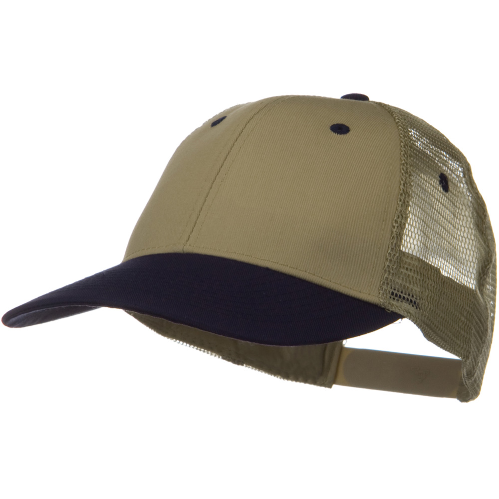 2 Tone Cotton Twill Low Profile Nylon Mesh Back Cap - Navy Khaki - Hats and Caps Online Shop - Hip Head Gear