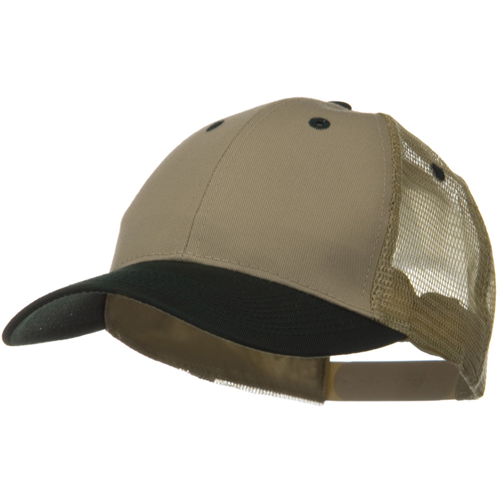 2 Tone Cotton Twill Low Profile Nylon Mesh Back Cap - Dark Green Khaki - Hats and Caps Online Shop - Hip Head Gear