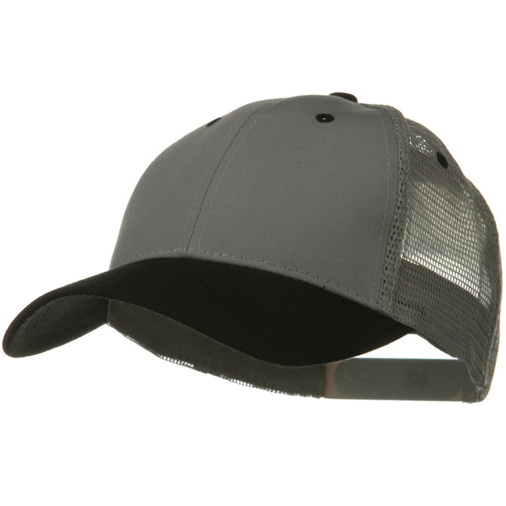 2 Tone Cotton Twill Low Profile Nylon Mesh Back Cap - Black Grey - Hats and Caps Online Shop - Hip Head Gear
