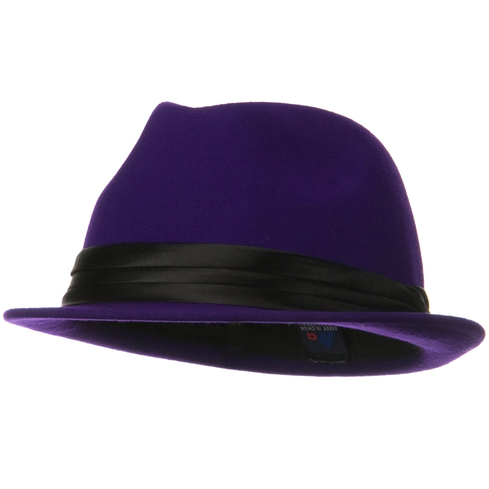 Ladies Wool Felt Fedora Hat - Purple