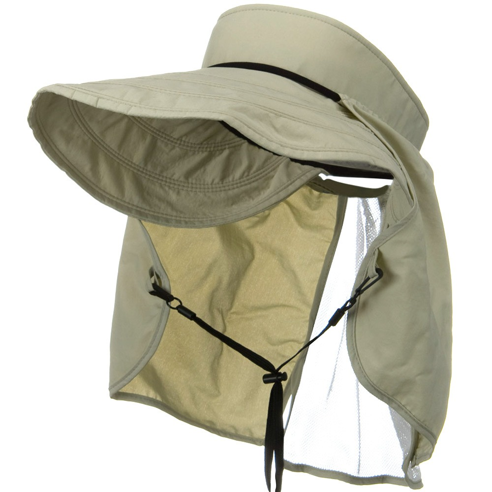 UV 50+ Talson Visor with Flap - Khaki - Hats and Caps Online Shop - Hip Head Gear