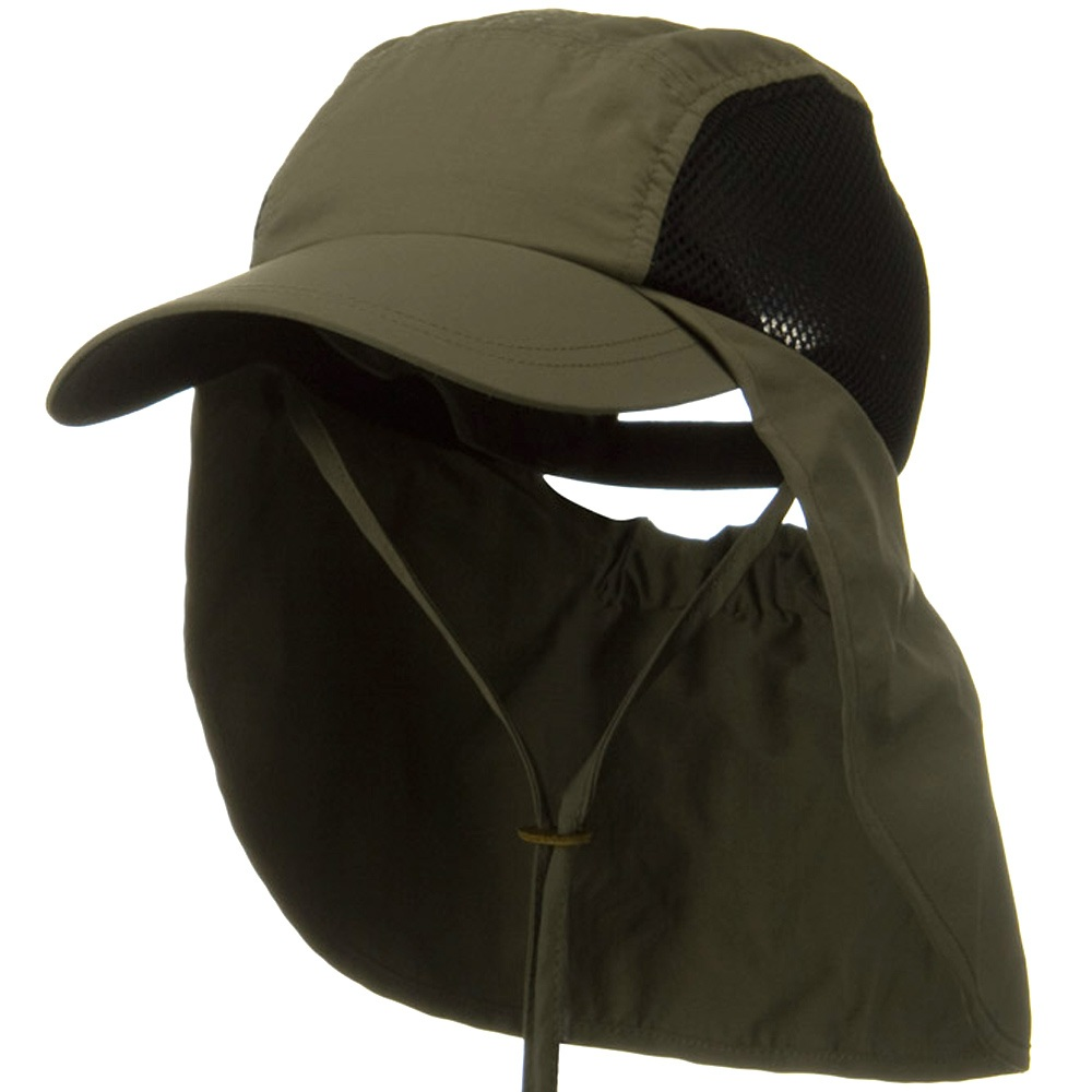 UV 50+ Talson Side Mesh Flap Cap - Olive - Hats and Caps Online Shop - Hip Head Gear