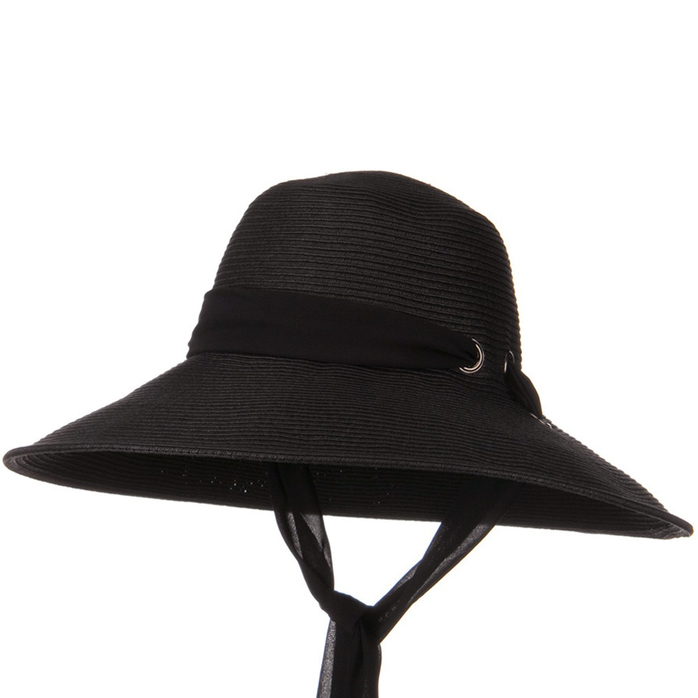 5 Inch Brim Long Chin Strap ML Straw Hat - Black - Hats and Caps Online Shop - Hip Head Gear