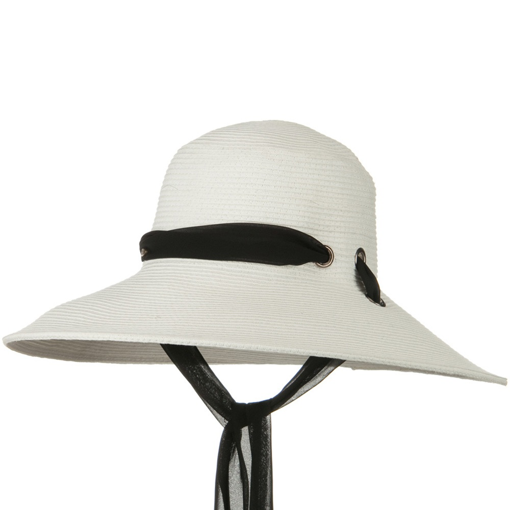 5 Inch Brim Long Chin Strap ML Straw Hat - White - Hats and Caps Online Shop - Hip Head Gear