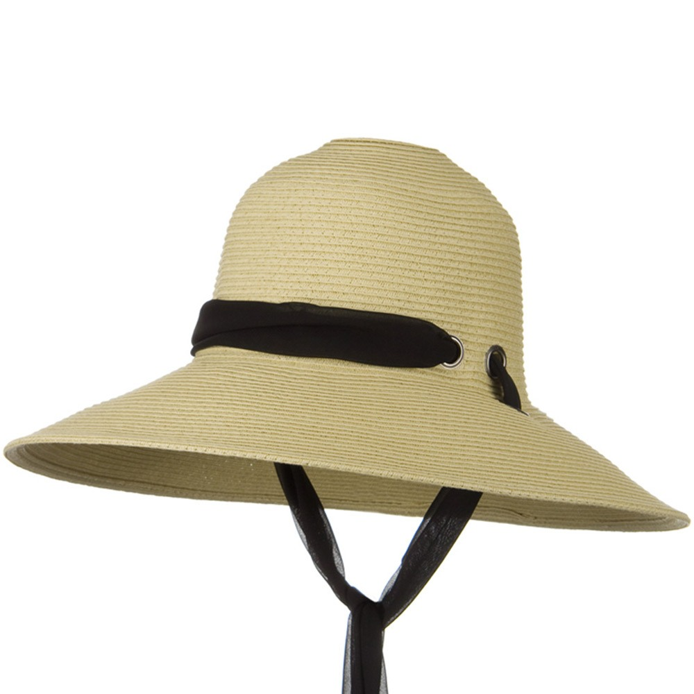 5 Inch Brim Long Chin Strap ML Straw Hat - Khaki - Hats and Caps Online Shop - Hip Head Gear