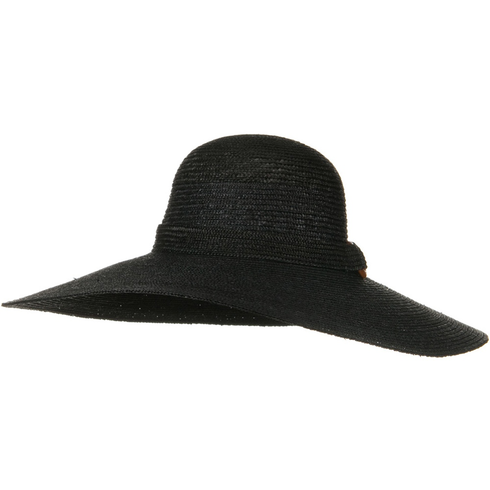6 Inch Brim Natural Straw ML Hat - Black - Hats and Caps Online Shop - Hip Head Gear