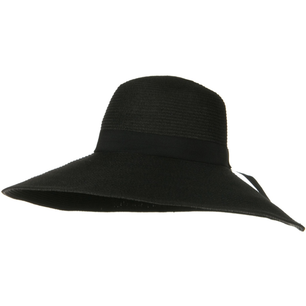 6 Inch Wide Brim Ribbon ML Straw Hat - Black - Hats and Caps Online Shop - Hip Head Gear