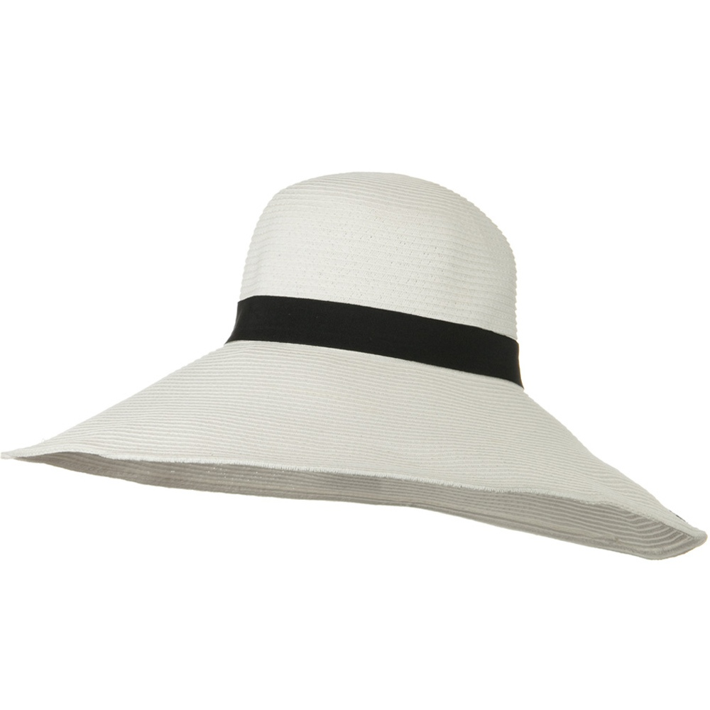 6 Inch Wide Brim Ribbon ML Straw Hat - White - Hats and Caps Online Shop - Hip Head Gear